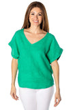shop-sofia Andrea V Neck Linen Top Sofia Collections Italian Silk Linen Satin