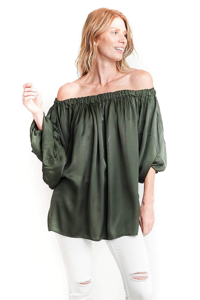 shop-sofia Tops Andy Off Shoulder Top Sofia Collections Italian Silk Linen Satin