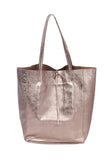 shop-sofia Angeline Copper Shopper Bag Sofia Collections Italian Silk Linen Satin