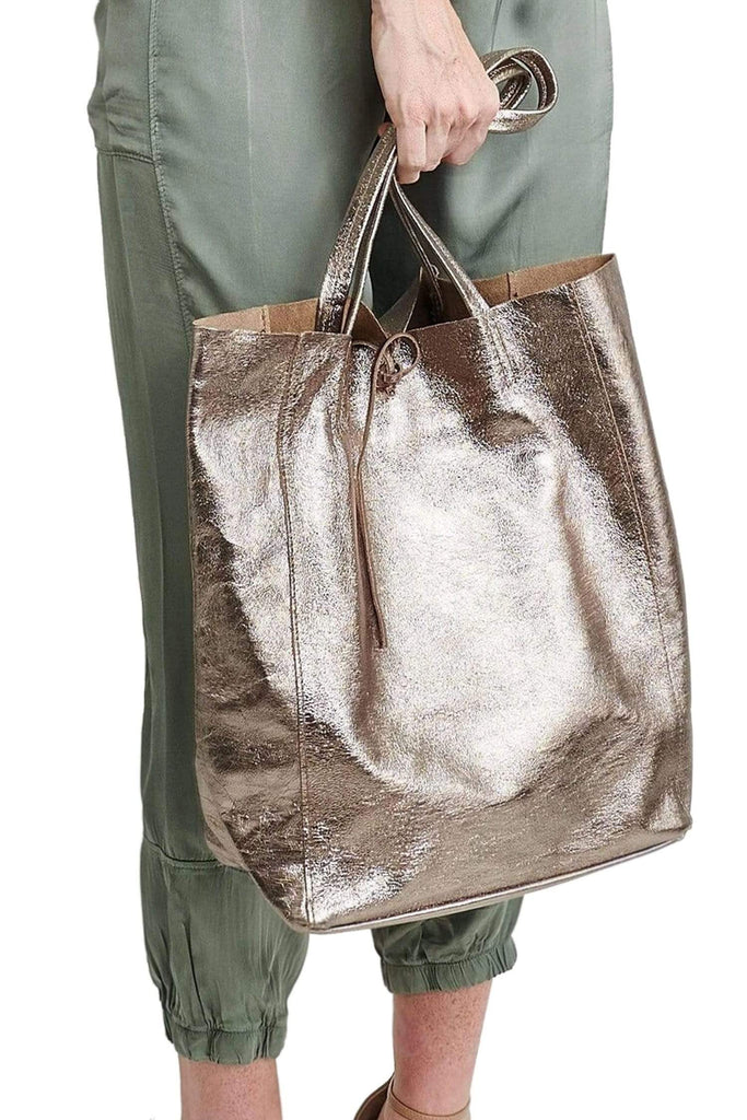 shop-sofia Handbags Angeline Copper Shopper Bag Sofia Collections Italian Silk Linen Satin