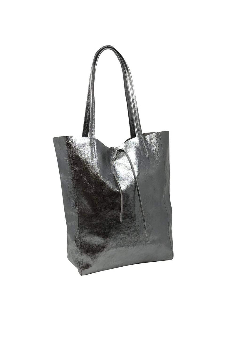 shop-sofia Angeline Pewter Tote Bag Sofia Collections Italian Silk Linen Satin