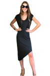 shop-sofia Athena Chocolate Asymetrical Bodycon Dress Sofia Collections Italian Silk Linen Satin
