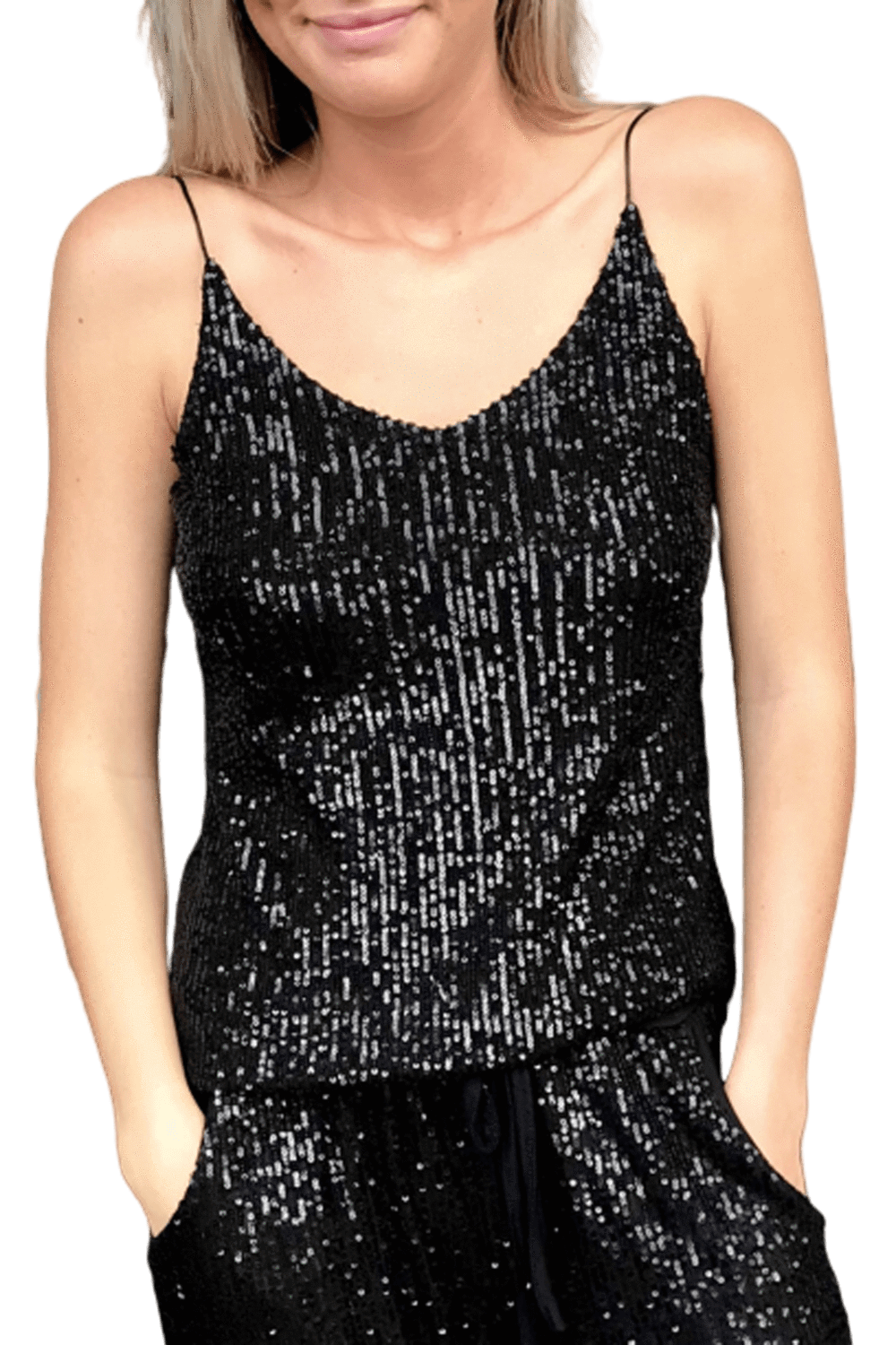 shop-sofia Ava Sparkling Black Tank Top Sofia Collections Italian Silk Linen Satin