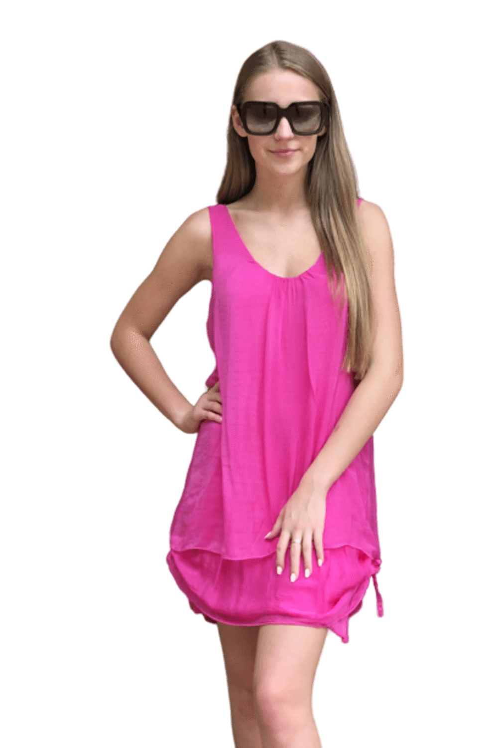 shop-sofia Belle Fuchsia Sleeveless Dress Sofia Collections Italian Silk Linen Satin