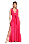 shop-sofia Camila Magenta Open Side Slit Maxi Sofia Collections Italian Silk Linen Satin