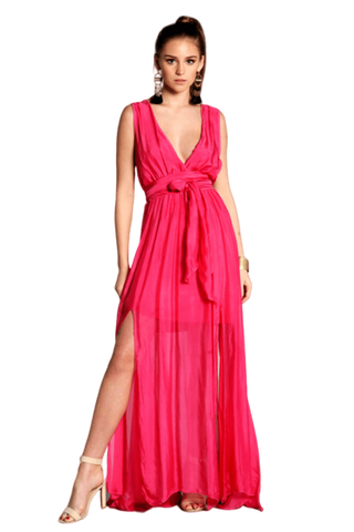 Meghan Lapis Open Side Slit Maxi
