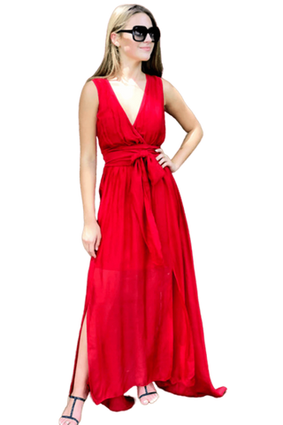 shop-sofia Camila Red Open Slit Maxi Sofia Collections Italian Silk Linen Satin