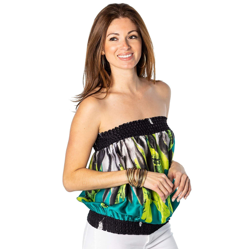 shop-sofia Candy Cavalli Print  Tube Top Sofia Collections Italian Silk Linen Satin