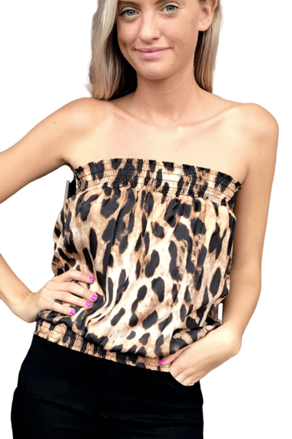 shop-sofia Candy Leopard Print Tube Top Sofia Collections Italian Silk Linen Satin