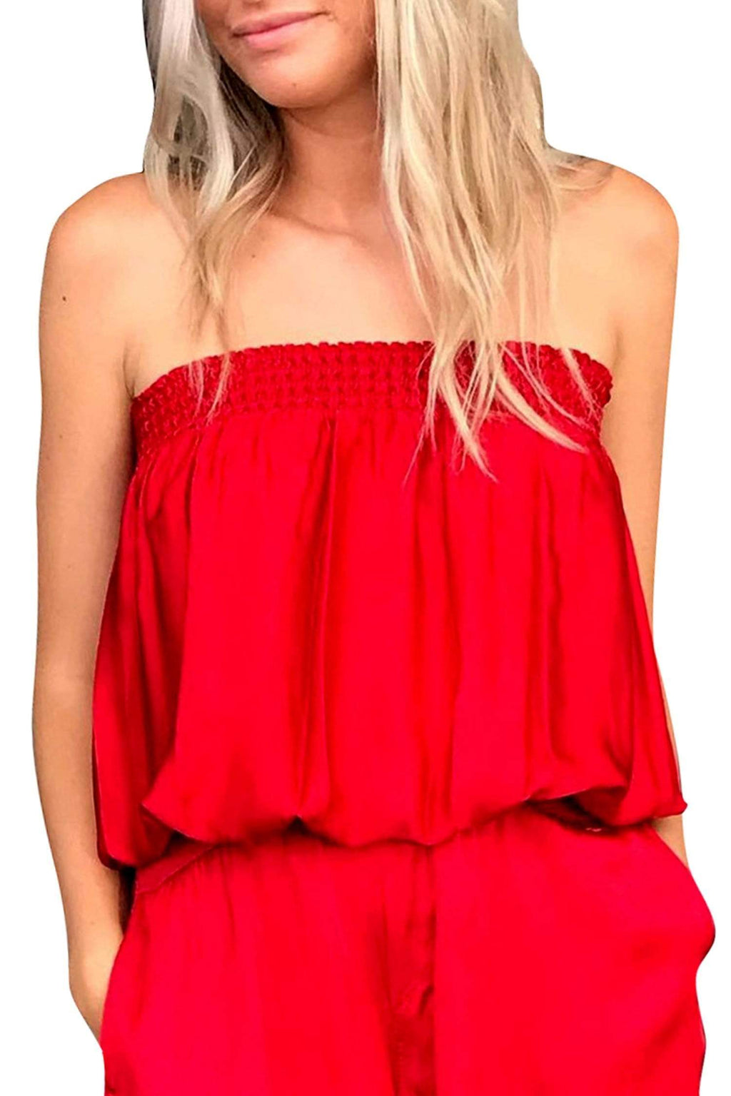 shop-sofia Candy Red Tube Top Sofia Collections Italian Silk Linen Satin