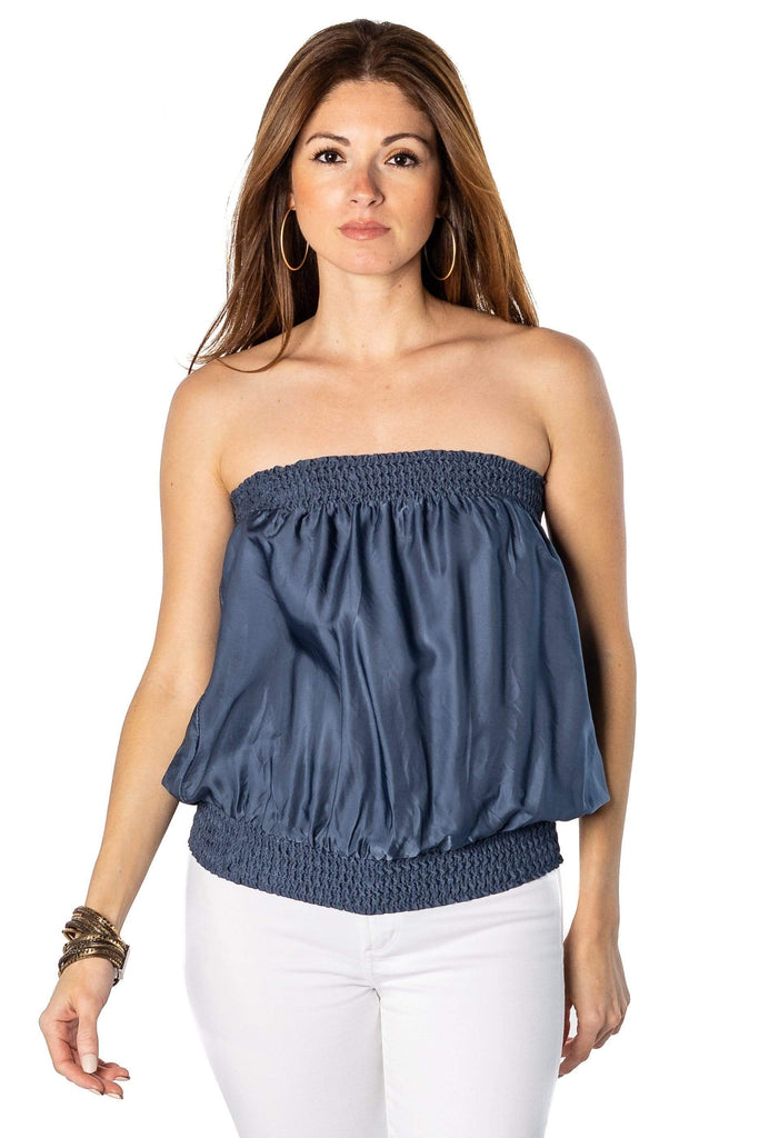 shop-sofia french blue Candy Royal Blue Tube Top Sofia Collections Italian Silk Linen Satin