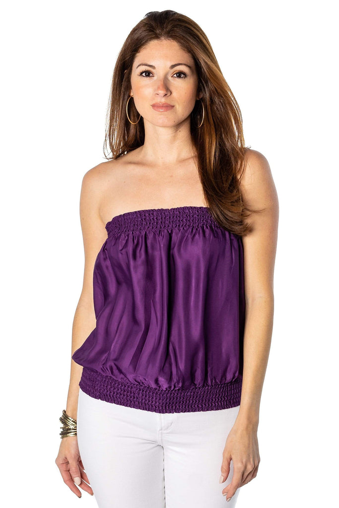 shop-sofia purple Candy Royal Blue Tube Top Sofia Collections Italian Silk Linen Satin
