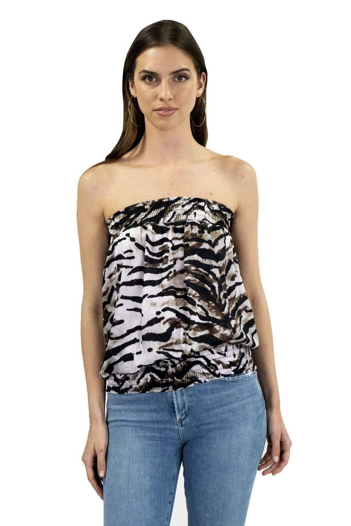 shop-sofia Candy Zebra Print Tube Top Sofia Collections Italian Silk Linen Satin