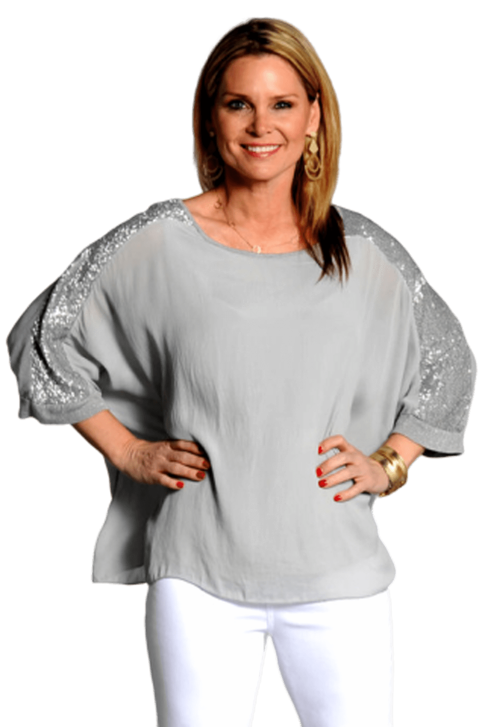 shop-sofia Carley Gray Top Sofia Collections Italian Silk Linen Satin