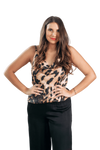 shop-sofia CAROLINE LEOPARD PRINT TANK TOP Sofia Collections Italian Silk Linen Satin