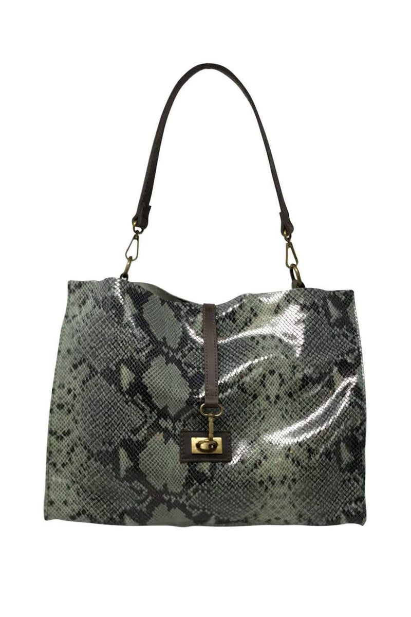 shop-sofia Carrie Lamb Green Snake Print Boho Bag Sofia Collections Italian Silk Linen Satin