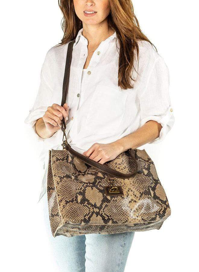 shop-sofia Carrie Lamb Sand Snake Print Boho Bag - Big Sofia Collections Italian Silk Linen Satin