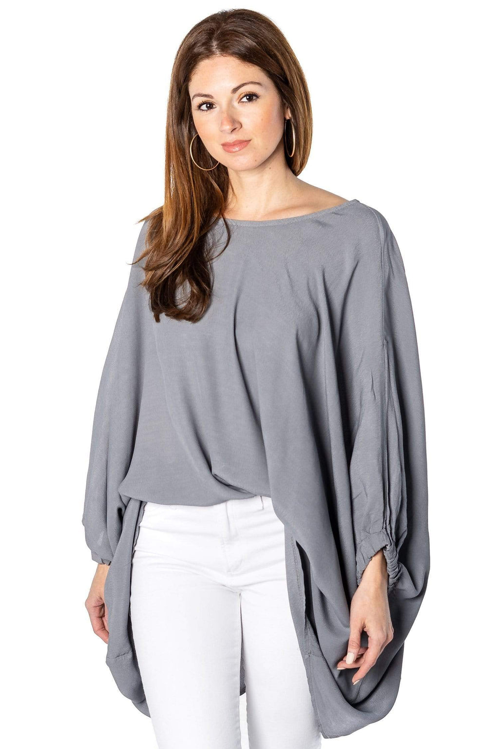 shop-sofia Carrie Military Lose Top Sofia Collections Italian Silk Linen Satin