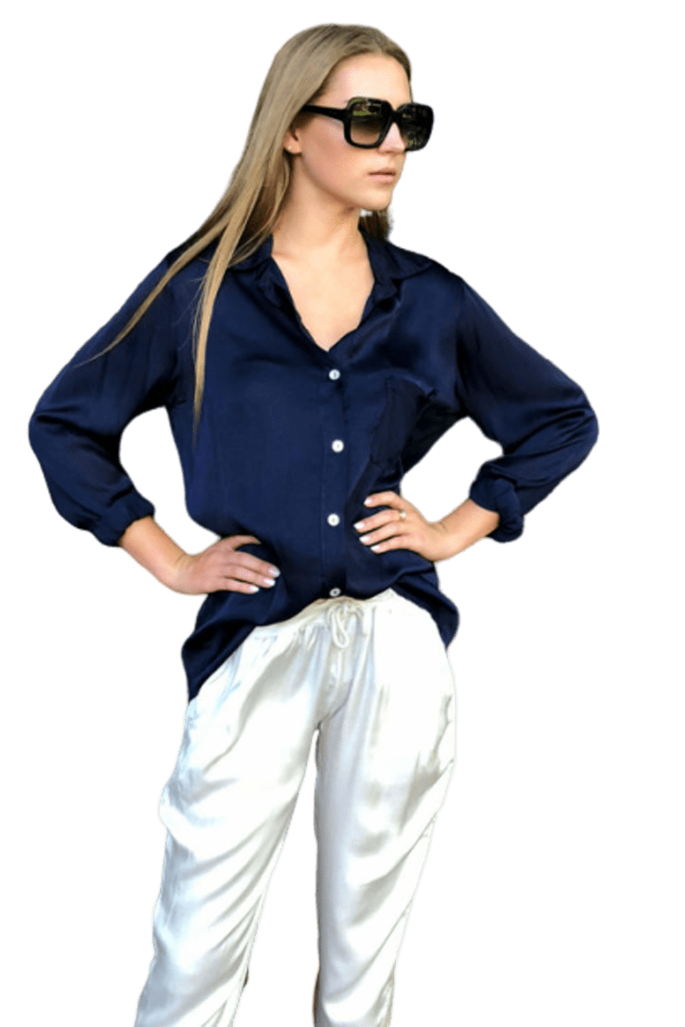 shop-sofia Casey Boyfriend Navy Top Sofia Collections Italian Silk Linen Satin