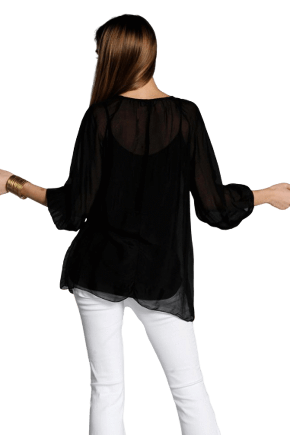 shop-sofia Casey Deep Black Top Sofia Collections Italian Silk Linen Satin