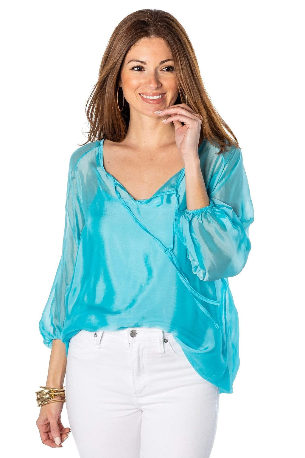 shop-sofia Casey Deep Turquoise Top Sofia Collections Italian Silk Linen Satin
