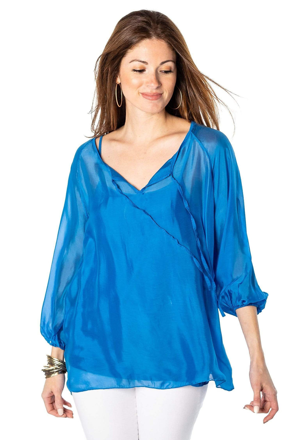 shop-sofia Casey Royal Top Sofia Collections Italian Silk Linen Satin