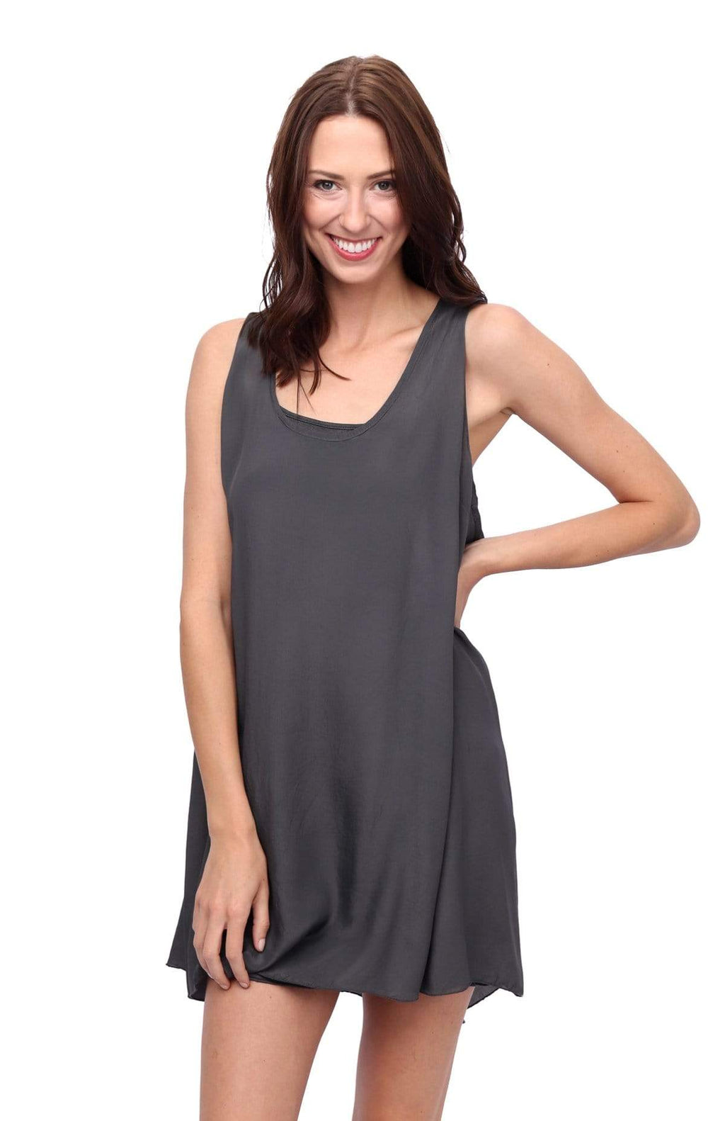 shop-sofia Cassandra Charcoal Dress Sofia Collections Italian Silk Linen Satin