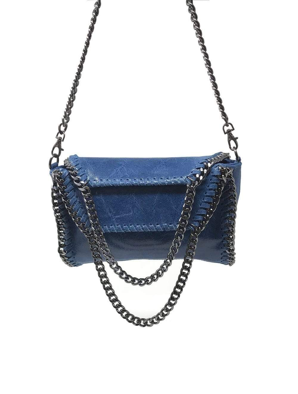 shop-sofia Cassie Blue 2-Way Handbag with Chain Strap Sofia Collections Italian Silk Linen Satin