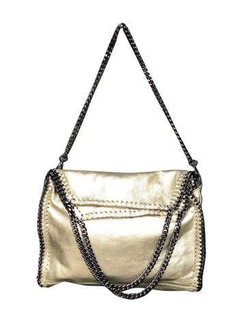 shop-sofia Cassie Gold 2 Way Handbag with Chain Strap Sofia Collections Italian Silk Linen Satin