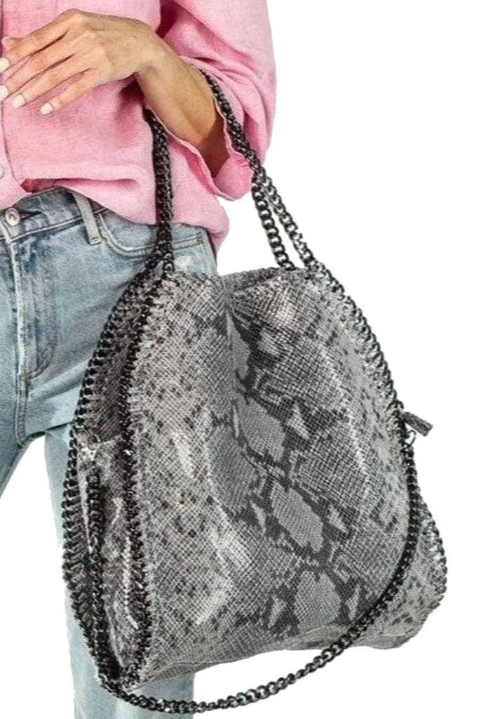 shop-sofia Cassie Grey Snake Bag Sofia Collections Italian Silk Linen Satin