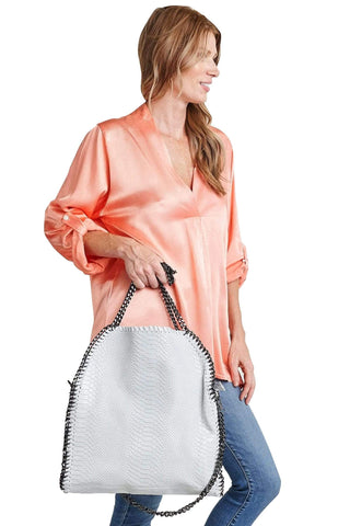 shop-sofia Cassie Ice Blue 2-Way Handbag Sofia Collections Italian Silk Linen Satin