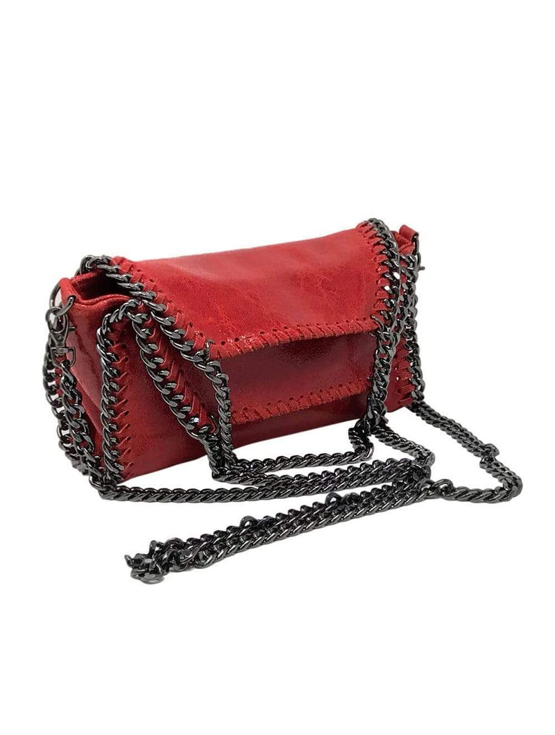 shop-sofia Cassie Red 2-Way Handbag with Chain Strap Sofia Collections Italian Silk Linen Satin