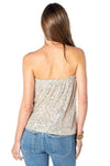 shop-sofia Cassy Champagne Sequin Tube Top Sofia Collections Italian Silk Linen Satin