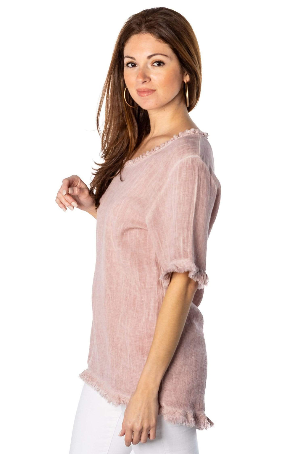 shop-sofia Ceci Linen Top Sofia Collections Italian Silk Linen Satin