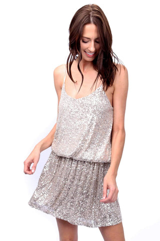 shop-sofia Dresses Cecia Sparkling  Dress Sofia Collections Italian Silk Linen Satin