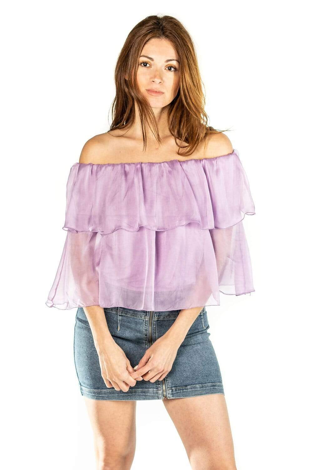 shop-sofia Chloe Ruffle Top Sofia Collections Italian Silk Linen Satin