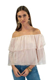 shop-sofia Chloe Top Sofia Collections Italian Silk Linen Satin