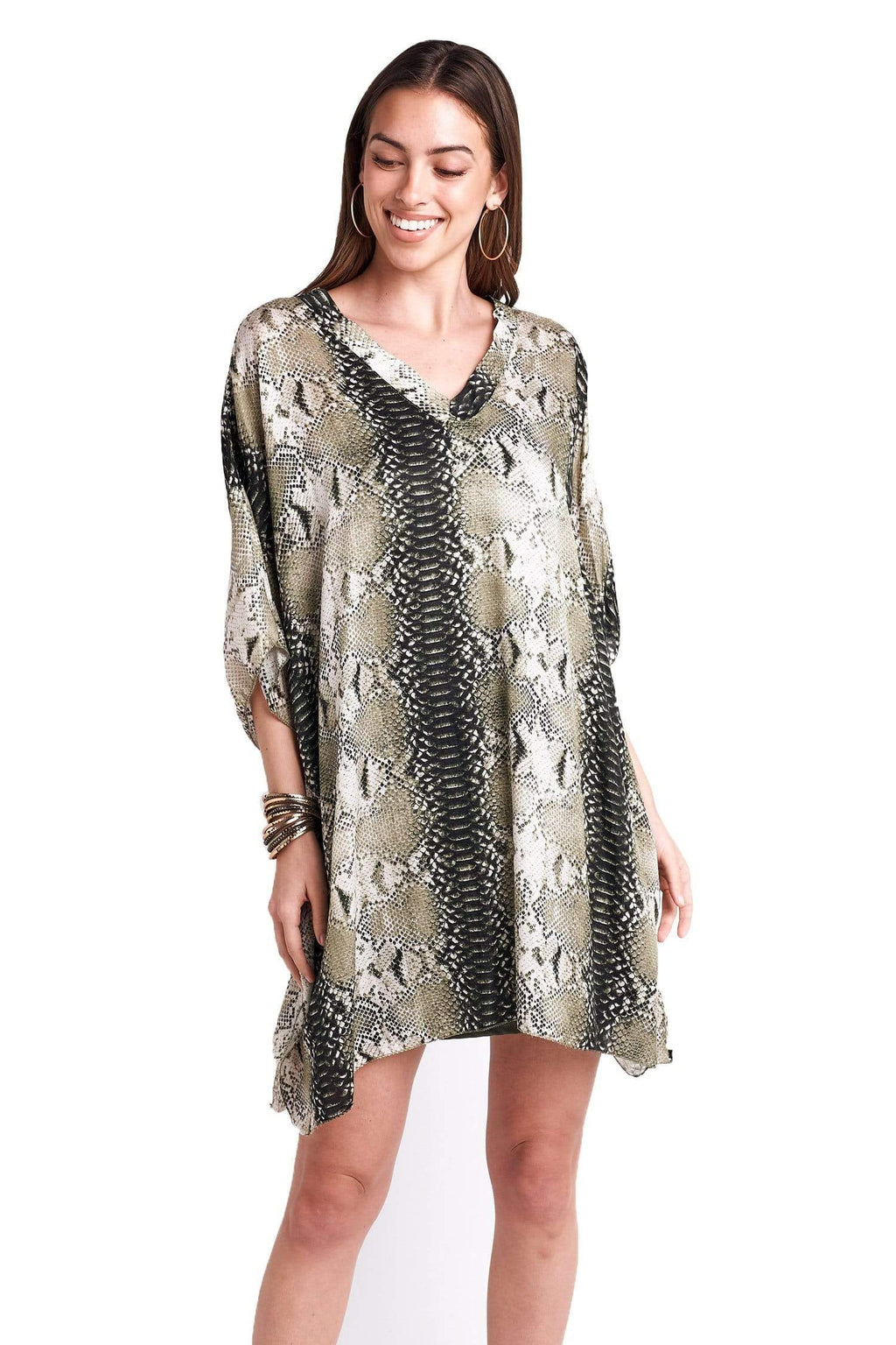 shop-sofia Christa Green Beige Snake Print Tunic Sofia Collections Italian Silk Linen Satin
