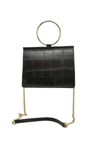 shop-sofia Cole Black Emboss Cross Body Bag Sofia Collections Italian Silk Linen Satin