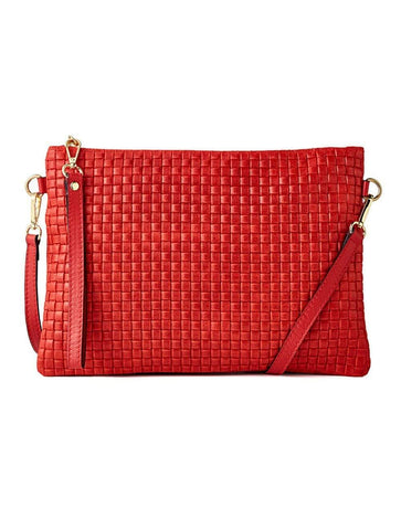 shop-sofia Cross Body Clutch Italian Waffle Leather Sofia Collections Italian Silk Linen Satin