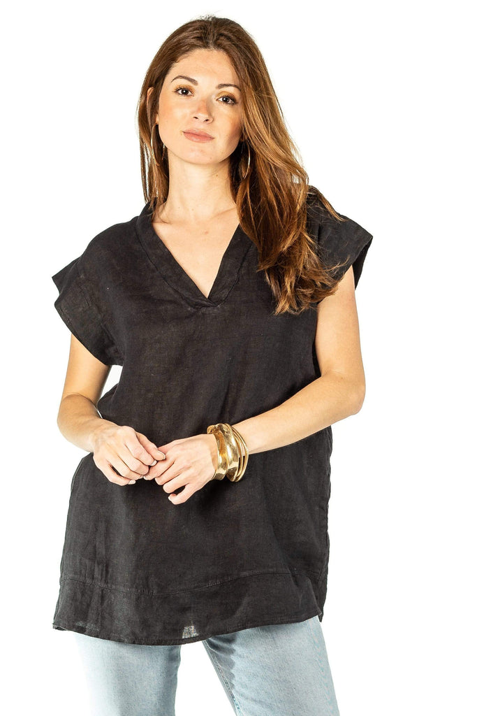 shop-sofia Eden V Tunic Sofia Collections Italian Silk Linen Satin