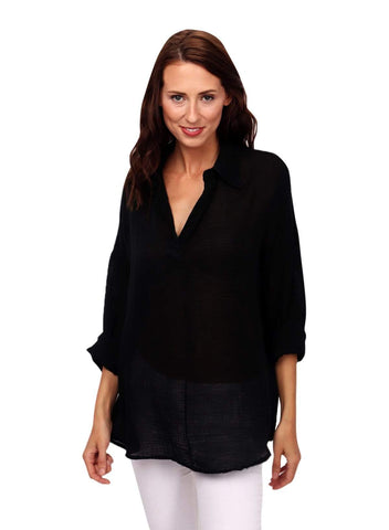 shop-sofia Tops BLACK Elisa Top Sofia Collections Italian Silk Linen Satin