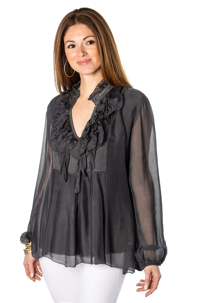 shop-sofia Emma Fringe Long Sleeve  Top Sofia Collections Italian Silk Linen Satin