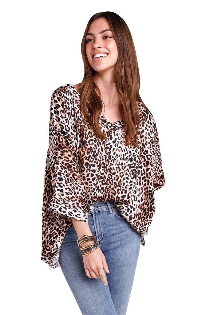 shop-sofia Gail V-Neck Cheetah Print Loose Top Sofia Collections Italian Silk Linen Satin