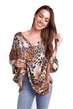 shop-sofia Gail V-Neck Tiger Print Loose Top Sofia Collections Italian Silk Linen Satin
