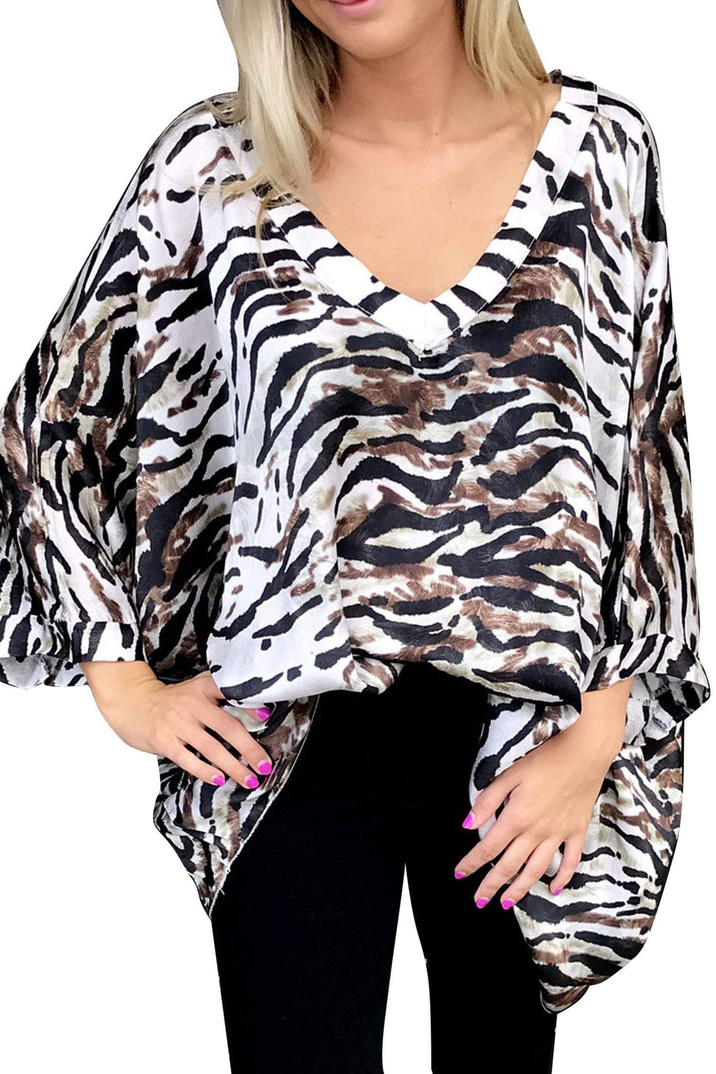 shop-sofia Gail V-Neck Zebra Print Loose Top Sofia Collections Italian Silk Linen Satin