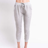 shop-sofia Gray Jogger Pant Sofia Collections Italian Silk Linen Satin