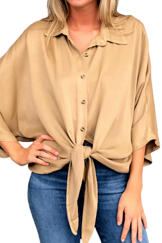 shop-sofia Hazel Button Down Tie Knot Sand Top Sofia Collections Italian Silk Linen Satin