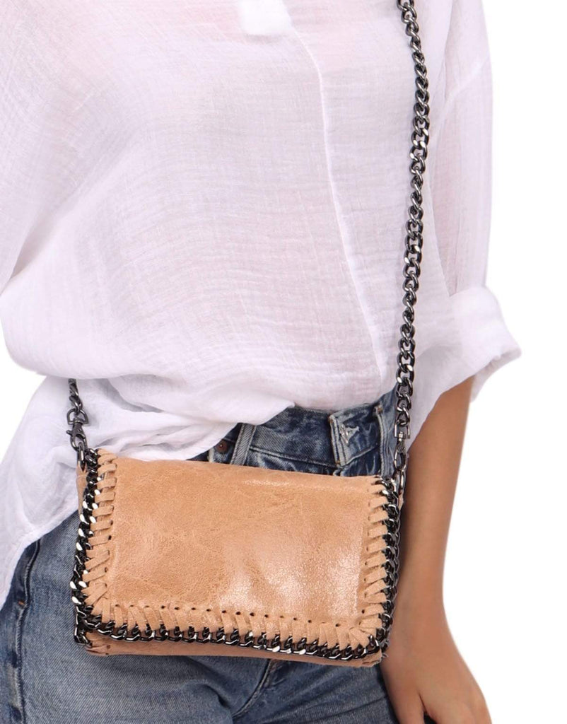 shop-sofia Hazel  Chain Shoulder Bag Sofia Collections Italian Silk Linen Satin