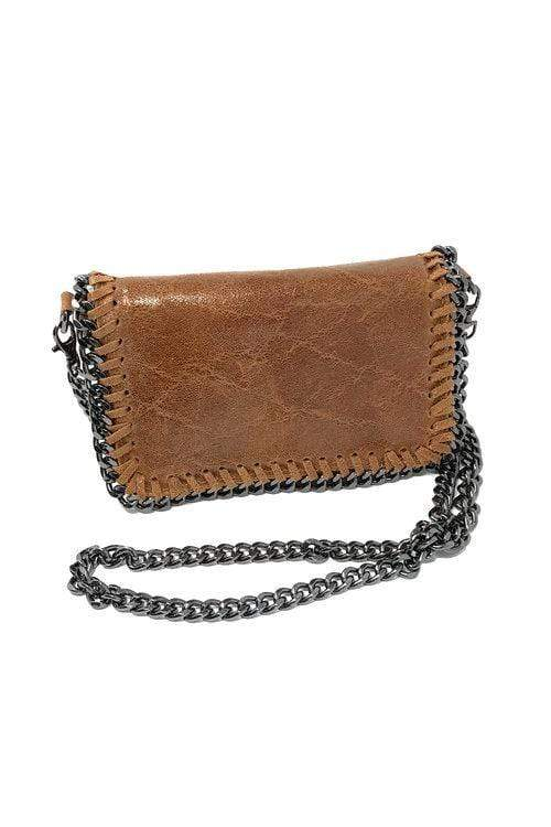 shop-sofia Hazel Cognac Chain Shoulder Bag Sofia Collections Italian Silk Linen Satin